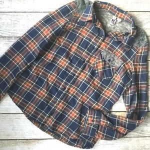 Lace Embellished Flannel Button Down
